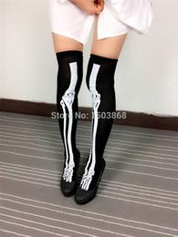 Wholesale Pairs Halloween Knee High Long Socks Skeleton Tattoo Socks Cosplay Monster Geek Women Long Socks Over Knee Sexy FG1510