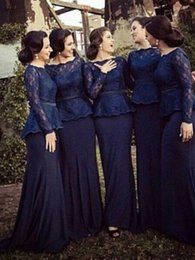 Wholesale 2016 Sheath Navy Bridesmaids Dresses Lace Sheer Lace Scalloped Illusion Long Sleeve Zipper Pumps Custom Made Formal Bridesmaid Gowns Cheap