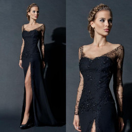 Black Lace Arabic Evening Gowns Dresses Sheath Scoop Neckline Long Illusion Sleeves Beads High Split Formal Dress