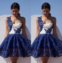 2016 Navy Blue White One Shoulder Dresses Evening Wear Sleeveless Lace Appliques Short Prom Party Dresses Mini Evening Gowns Free Shipping