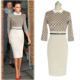 Wholesale Womens Elegant Sleeve Lapel Collar Colorblock Tunic Casual Party Sheath Pencil Fitted Slim Bodycon Dress WQ0848