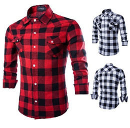 Dress Shirts for Men Mens Shirt New Mens Slim Fit Casual and Dress Plaid Check Shirt Fashion Comfortable and Breathable Shirts Red Black Me