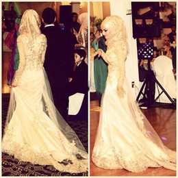 2015 Latest Muslim Wedding Gowns Vintage Mermaid Lace Over Tulle Beaded High Collar Long Sleeves Mideast Bridal