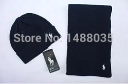Wholesale Fashion BRAND classic women men wool knit beanies skully hat scarf hat set