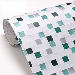 Wholesale PVC mosaic wallpaper bathroom wall paper waterproof tile stickers wallpaper for kitchen decoration