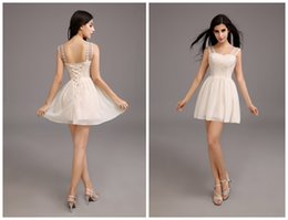 Wholesale Champagne Chiffon Short Homecoming Dresses A Line Sheer Straps Lace Applique Cheap Mini Prom Party Gowns Online Real Photos