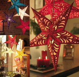 Wholesale Paper lamp cover christmas five pointed star hanging new year craft decorations items cm