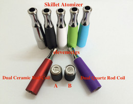 Wholesale 2015 New Colorful Wax Skillet Atomizer Dual Ceramic Rod coil head skillet wax atomizer double coil skillet atomizer