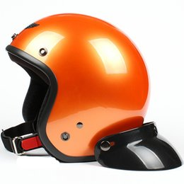 Wholesale TT Taiwan Style quot SYC quot Motorcycle Helmet ABS Motocross Scooter Casco Open Face All Bright Orange Helmet amp UV