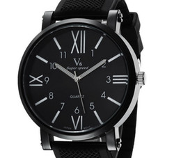 Wholesale New V6Casual Quartz Men Watches FashionRoman numerals Graduation Wristwatch Dropship silicone Clock Fashion Hours Dress Watch CHRISTMAS GIFT