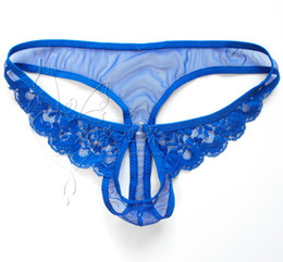 Wholesale-High quality Sexy mens underwear hot Lace Mesh mens thongs g-strings Penis Sheath Men's Sexy penis Pouch Male Underwear