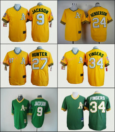 Wholesale Oakland Athletics Jersey Reggie Jackson Rickey Henderson Rollie Fingers Yellow Green Stitched Throwback Baseball Jersey
