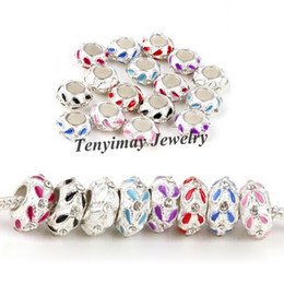 Mixed Color Enamel Charm Beads With Crystal For Snake Chain European Big Hole Beads 100pcs Wholesale