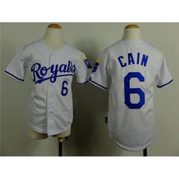 Wholesale New Fashion Boys Baseball Apparels Royals Lorenzo Cain White Baseball Jerseys Cool Base Authentic Kids Baseball Wears Brand Sport Jerseys