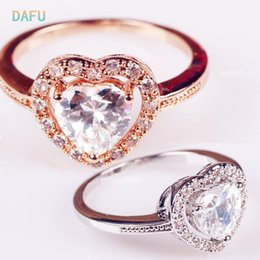 Wholesale Cluster Solitaire Rings - DAFU White Gold plated Heart Shaped Cubic Zirconia with micro CZs Cluster Setting Engagement Ring