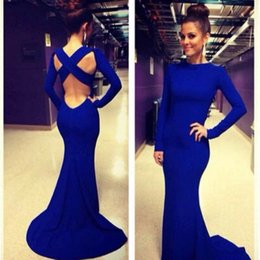 Wholesale Affordable Long Sleeve Royal Blue Evening Dresses Sexy Crisscrossed Back Sweep Train Simple Long Evening Gowns Women Mermaid Prom Dresses LA