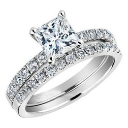 SZ 5-11 Rhodium Wedding Engagement Ring Set Princess Cut Two-in-One Women Bride Cocktail
