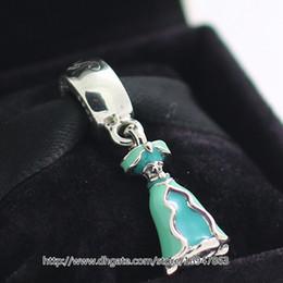 New 100% S925 Sterling Silver Jasmine's Dress Charm Bead with Teal Enamel Fits European Pandora Jewelry Bracelets