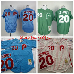 Wholesale 30 Teams Discount Jerseys Men s Philadelphia Phillies Mike Schmidt Blue Green White Throwback Retro Baseball Jersey Shirt