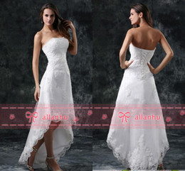 Hot Sale New Cheap Full Lace Hi-lo Wedding Dresses Strapless Appliques Hi-lo Backless White Wedding Bridal Gowns CPS110