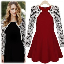Top Fashion Red lace dresses New Women patchwork Embroidery Lace Vintage Black White A-line Formal Dress Work Wear Floral Prom Dresses