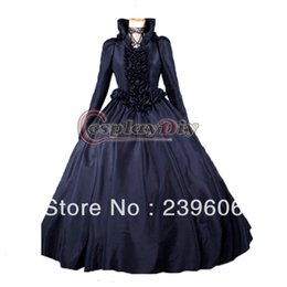 Wholesale New Arrival Long Flare Sleeve Stand Collar ROCOCO Ball Grown Gothic Medieval Victorian Dress Costume With Bandage
