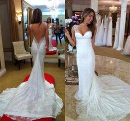 Mermaid Long Wed Wedding Dress White Sweetheart Tank Sleeveless Floor Length Court Train Bridal Gown Beading Backless Lace Wedding Dresses