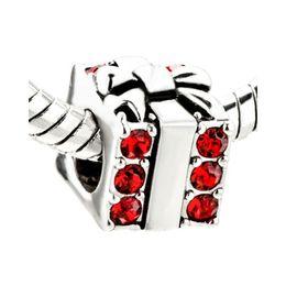 Merry Christmas Red crystal gift box bead In Rhodium Plating charm European Fits Pandora style DIY Bracelet