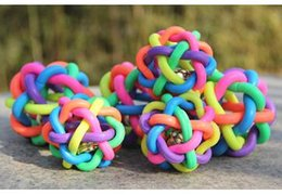 Wholesale 300pcs Puppy Dog Cat Pet Colorful Rubber Belling Sound Ball Toys hot sell