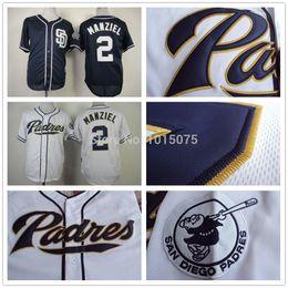 Promotion johnny maillots manziel 2015 Nouveau Johnny Manziel San Diego Padres Jersey base fraîche Base-ball Blanc Bleu foncé