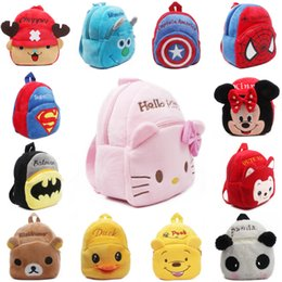 Wholesale 2015 Retail children plush backpacks Hello Kitty bag Minnie Backpack Spider baby toy Backpack children cartoon bag kid toy bag