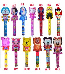 Wholesale Newest Large scale cm cartoon Aluminum Foil balloon stick blow stick Animal Head ballon Refueling inflatable rods