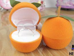 New Velvet Ring Box,fruit design, orange color Jewelry Display Gift Case,sold per bag of 20 pcs