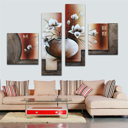 100%Hand painted 4 pcs set modern oil painting on canvas wall art pictures for home decoration flowers top Home Decor gift