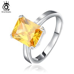 ORSA New Arrival Simple Style Finger Ring for Women Top Quality Square Zircon Engagement Rings OR59