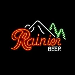 "Wholesale-NEON RAINIER BEER LOGO SIGN HANDICRAFT REAL GLASS TUBE BEER BAR LIGHT GAME ROOM SHOP 20x15"""