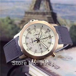 Wholesale 2015 high quality luxury watches men Silver Case White dial Rubber strap Chronograph quartz watch waterproof free delivery