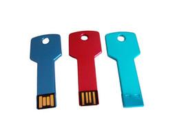 Wholesale usb flash drive USB Key shape GB GB GB metal Key ring pen drive pendrive U disk memory stick multiple colours memory stick free