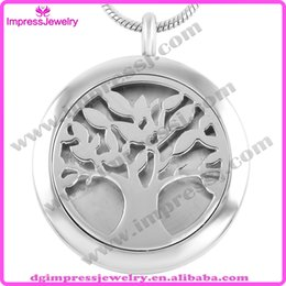 Wholesale IJP0008 Young Living Essential Oil Diffuser Perfume Locket Diffuser Necklace Aromatherapy l Stainless Steel Round Shape Tree Of Life