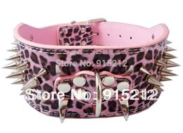 """Wholesale-Spiked Dog Collar Leather pink Studded Pet Collars Spikes Pit Pet Necklace Bull 3"""" Leopard"""