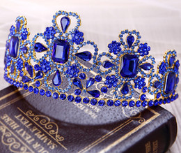Wholesale Blue is confused Big Tiara alloy silver gold plated Bridal Jewelry August Style In Stock