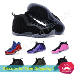 Wholesale Foamposite one basketball shoes Cheap foam style sneakers men Sport Shoes Sneaker Penny all black shoes Pro Galaxry wolf grey