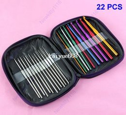 Free Shipping 1Set 22Pcs Multi-color Aluminum Crochet Hooks Knitting Needles Weave Craft With Case