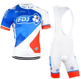 Promotion maillots de sport 2015 FDJ cyclisme Jersey cyclisme Shorts Set manches courtes pour les hommes / femmes Maillot Ciclismo Sport Bike Vêtements