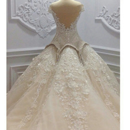 Luxurious And Beautiful 2019 Ball Gown Wedding Dresses Bridal Gown With Pearls Beaded Lace Appliques Chapel Train Beautiful Bride