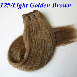 Top quality Human Hair wefts Brazilian hair weaves 100g 20inch 12#Light Golden Brown Straight hair bundles indian hair extensions