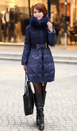 Occident Fashion Women Down Coats Thickening Slim long Down Coats Lovely Princess Style With Fox fur Collar Women Outwear Coats