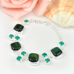 Wholesale 2015 New Arrival Rushed Party Holiday Gift Natural Green Tiger s Eye Gems Chain Silver Bracelet Russia Australia Uk Brazil