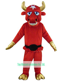 Wholesale Pole Star Bull Costumes With Gold Shoes Gloves And Horn Newest Red Cattle Mascot Costumes