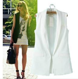 Wholesale 2016 Spring Summer White Black Women Formal Suit Vest Feminino Ladies Sleeveless Jackets Single Button Long Patchwork Waistcoat